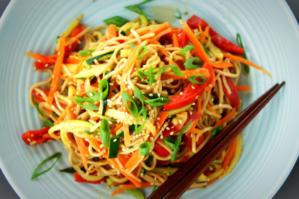 Soba noodles tossed with sautéed vegetables, soy sauce and sesame oil.