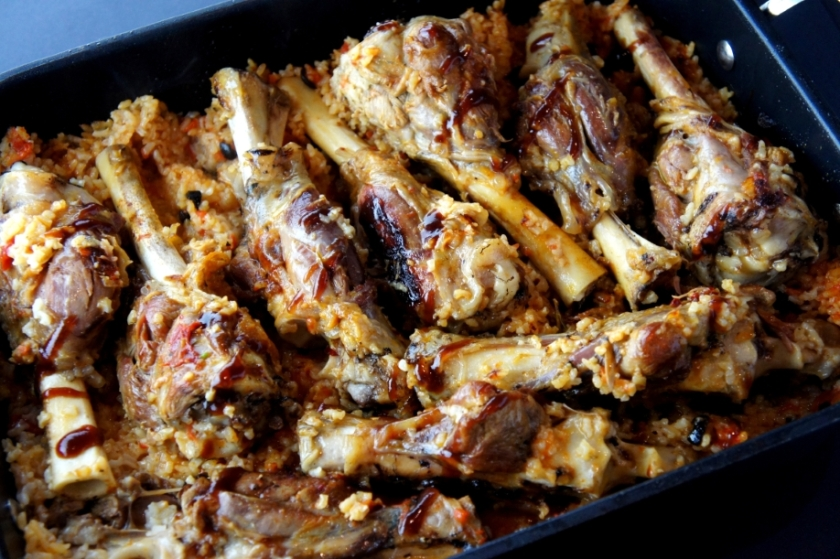One pot meal - lamb shanks and rice, with wine, tomato and olive (FODMAP friendly)