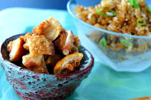 Grandmother's pork crackling, warm rice with pork fat and soy sauce