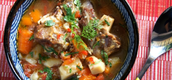 One pot meal - spicy lamb shank soup with vegetables and quinoa (low FODMAP, gluten free)