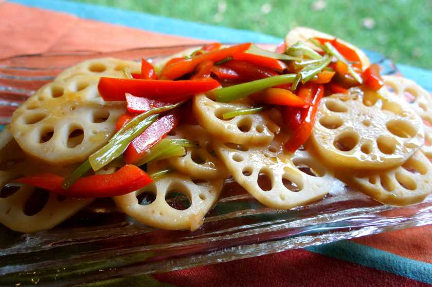 Stir fry pickled lotus root with a dash of soy and sesame oil
