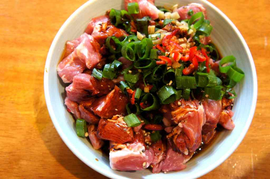 Ingredients - steamed pork with soy sauce and sesame oil
