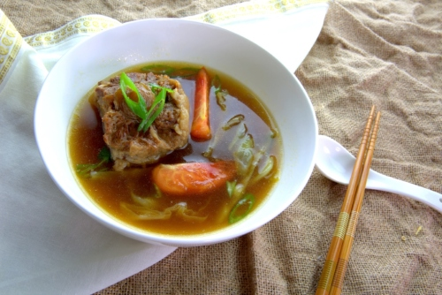 Asian style ox tail Soup with cinnamon, clove, nutmeg and pepper (gluten free)