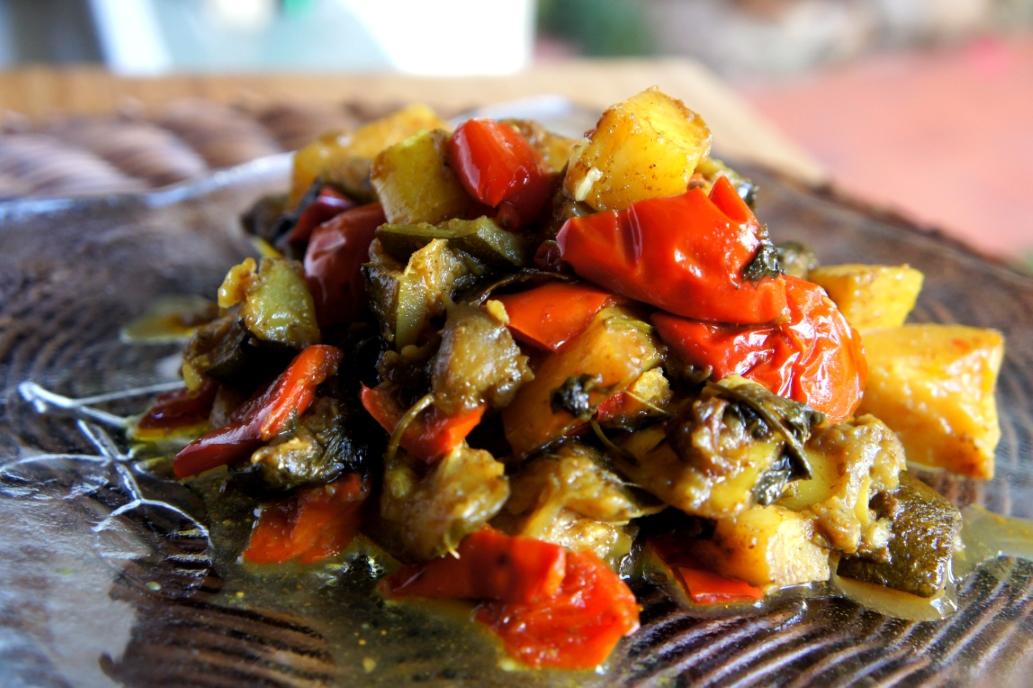Asian spiced ratatouille with potato, eggplant, capsicum, zucchini and coriander (low FODMAP, vegan, gluten free)