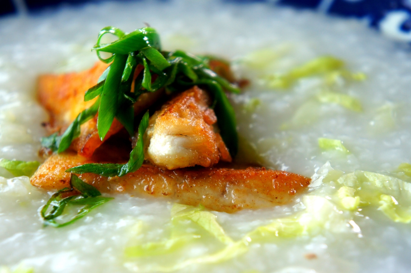 Rice congee with pan fried fish (low FODMAP, gluten free)