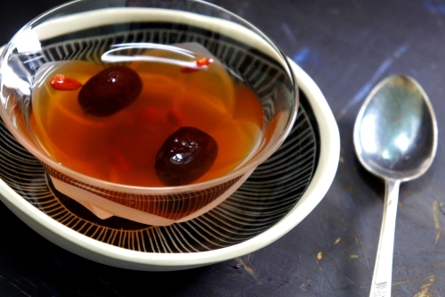 Tradition Chinese herbal tea with 'dang gui' 當歸, goji berries 枸杞 and red dates 红枣
