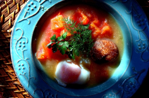 Tomato and egg soup, with Chinese mushroom and miso