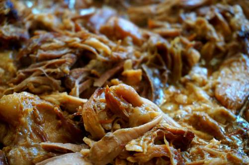 Easy pulled pork with plum sauce, Char Siu sauce, dark soy sauce and cumin - homeless feed
