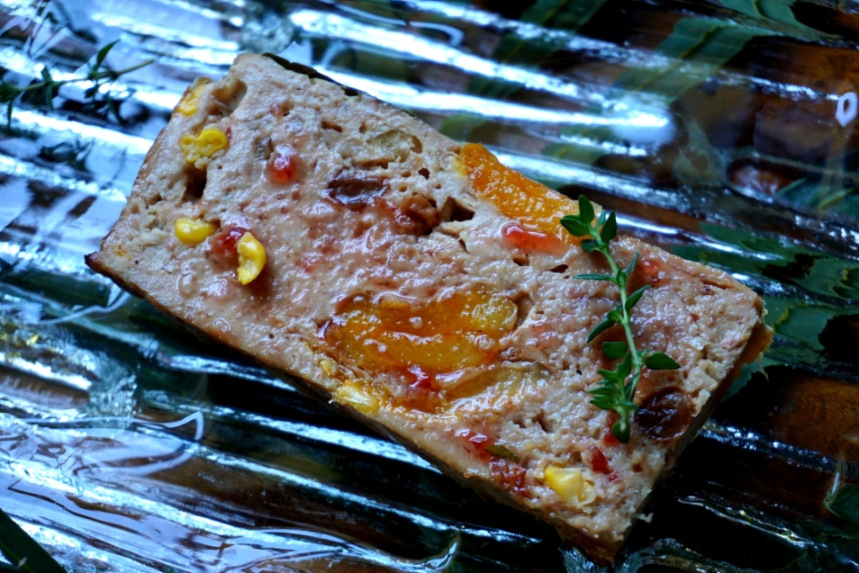 Chicken and apricot terrine, with ham fat, raisin, strawberry jam, thyme and bay leaf