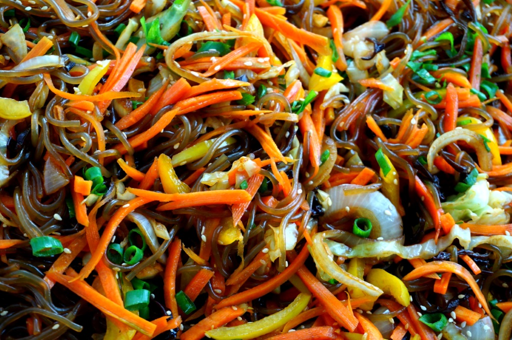 Meals for the homeless - sweet Potato Noodles with Chinese mushroom and vegetables (gluten free option, vegan)