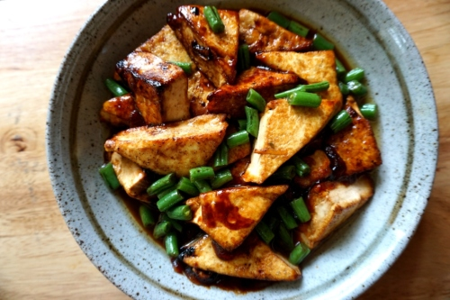 Pan fried tofu with soy sauce (FODMAP friendly, gluten free option, vegan)