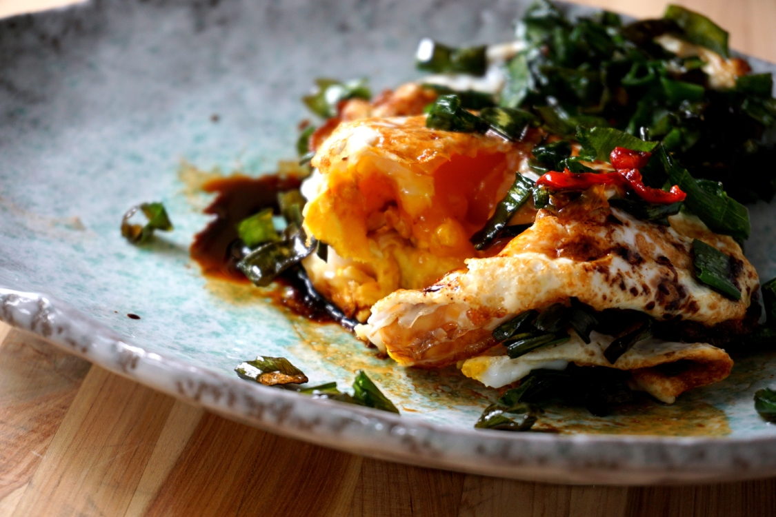 Fried duck eggs, with green shallot and dark soy sauce (FODMAP friendly, gluten free option)