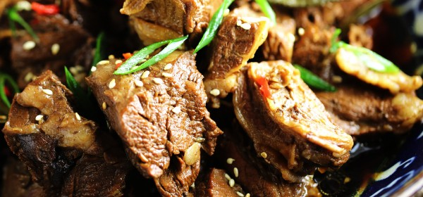 Braised beef flank with Asian spices and soy sauce