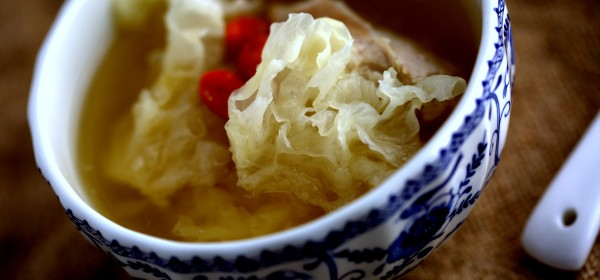 Snow fungus, goji berries and chicken soup