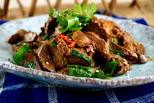 Chicken liver with chili, garlic and ginger