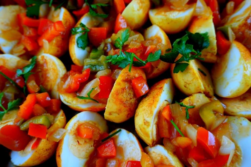 Turmeric eggs with chili tomato salsa