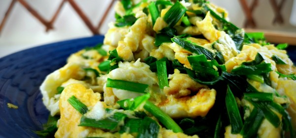 Chinese style eggs and garlic chive