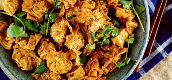 Wontons with spicy Hong Kong XO sauce